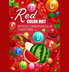 Color diet food red fruits berries and veggies vector
