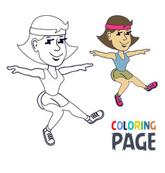 coloring page with woman gymnastic cartoon vector image