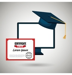 computer and certificate isolated icon design vector image