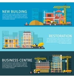 Construction Horizontal Banners Set vector image