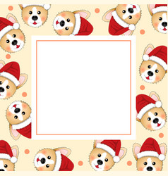corgi santa claus on beige ivory banner card vector image