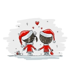 Couple in love together christmas vector