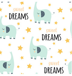 cute elephant seamless pattern isolated on white vector image