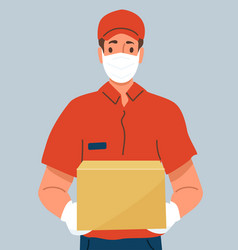 Delivery man holding cardboard box wearing vector