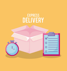delivery service with box and set icons vector image