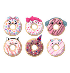 Different funny donuts vector