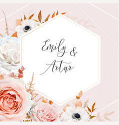 elegant floral fall stylish wedding invite vector image