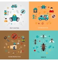 Exterminator Pest Contro 4 Flat Icons vector