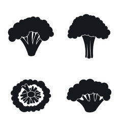 farm broccoli icon set simple style vector image