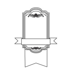 Figure square emblem with ribbon icon vector