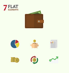 Flat icon incoming set of billfold graph money vector