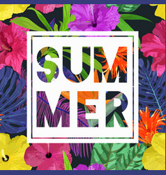 Floral seamless pattern with cut text summer vector