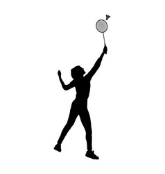 Girl playing badminton silhouette isolated vector