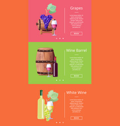grapes white wine barrel online posters set vector image