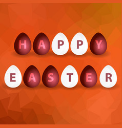 Happy easter from red and white egg on abstract vector