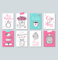 happy valentines day doodle set banners vector image