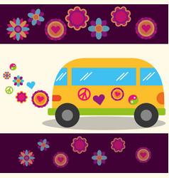 Hippie free spirit van flowers festival peace sign vector