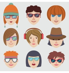 Hipster girl faces vector image