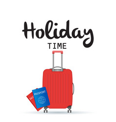 holiday time baggage and passport background vector image