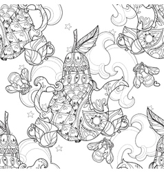 Honey pear doodle and bees vector