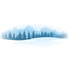 horizontal winter landscape mountains fir tree vector image
