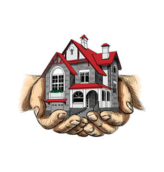 house in human hands on a white background vector image