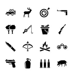 hunting icons pack vector image