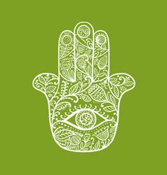 Indian ornate hand hamsa symbol vector