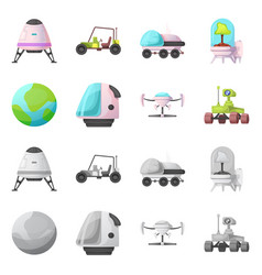 Isolated object of mars and space sign collection vector
