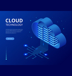 Isometric modern cloud technology and networking vector