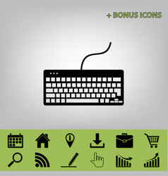 Keyboard simple sign black icon at gray vector