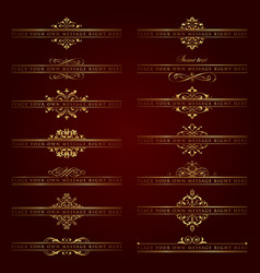 Large collection of golden ornate headpieces vector