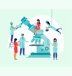 Large microscope with scientists in a flat design vector