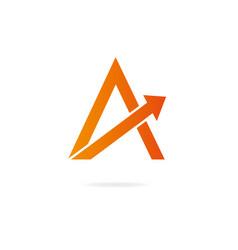 Letter a logo design template elements arrow vector