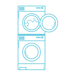line electronic washing machine and dryer to clean vector image