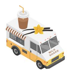 milk shake truck icon isometric style vector image