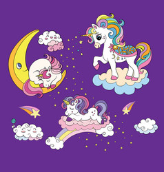 mom and baby unicorns colorful vector image