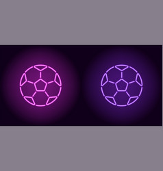 neon football ball in purple and violet color vector image