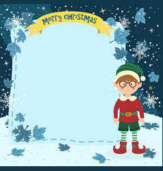 Notes christmas elf glasses boy vector