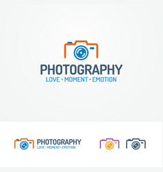 Photography logo set with photocamera vector
