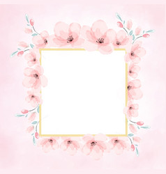 Pink watercolor cherry blossom golden frame vector