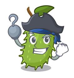 Pirate cartoon soursop fruit in the market vector