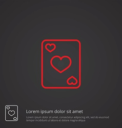 poker outline symbol red on dark background logo vector image