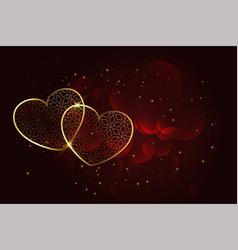 Premium artistic golden hearts background vector