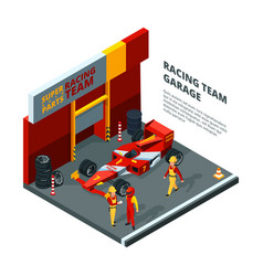 Race car at station isometric composition isolate vector