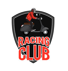 Racing club man riding vespa background ima vector