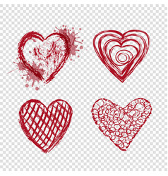 red hearts with blots and lines valentines day vector image