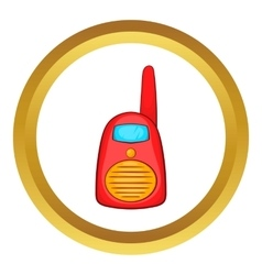 Red portable handheld radio icon vector