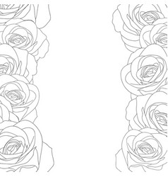 Rose border outline vector