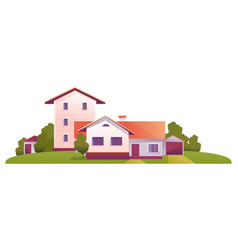 rural house among trees vector image